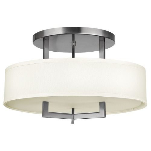 Hinkley Lighting Modern Semi-Flushmount Light with White Shade in Antique Nickel 3201AN