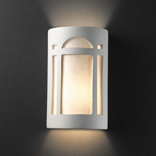 Justice Design Group Outdoor Wall Light with White in Bisque Finish CER-7395W-BIS