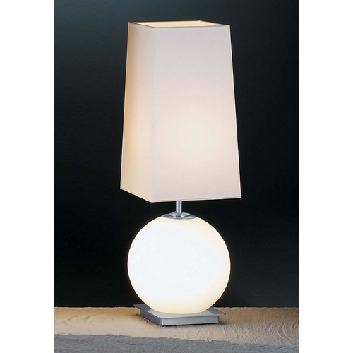 Holtkoetter Lighting Holtkoetter Modern Table Lamp with White Shades in Satin Nickel Finish 6032 SN SW SWSQ