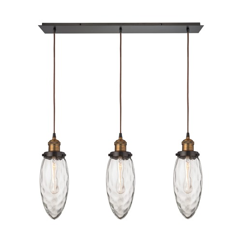 Elk Lighting Elk Lighting Owen Oil Rubbed Bronze, Antique Brass Multi-Light Pendant with Oblong Shade 16310/3LP