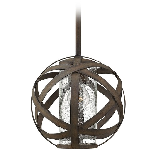 Hinkley Lighting Industrial Vintage Seeded Glass Outdoor Hanging Light Iron Hinkley Lighting 29707VI