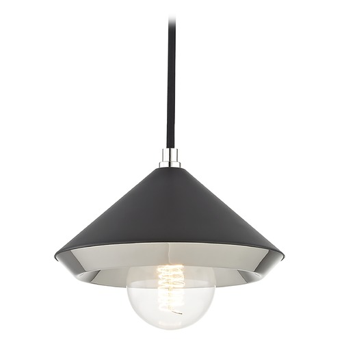 Hudson Valley Lighting Mid-Century Modern Mini-Pendant Light Polished Nickel Mitzi Marnie by Hudson Valley H139701S-PN/BK