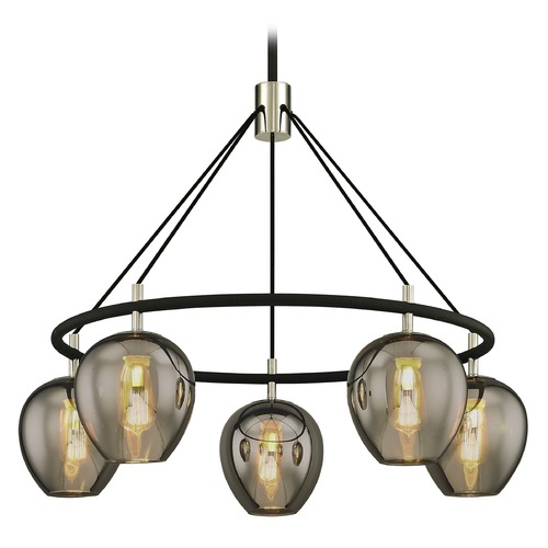 Troy Lighting Troy Lighting Iliad Carbide Black with Polished Nickel Pendant Light with Bowl / Dome Shade F6215