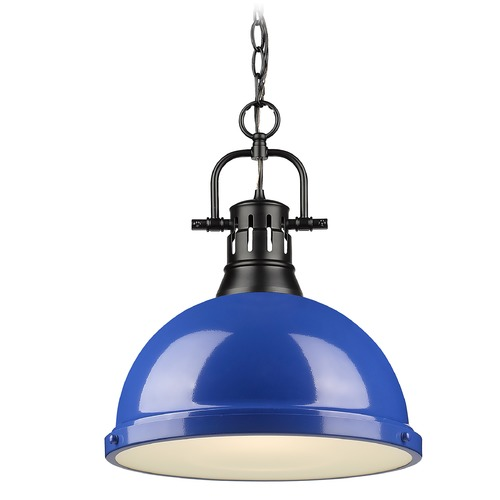 Golden Lighting Golden Lighting Duncan Black Pendant Light with Blue Shade 3602-LBLK-BE