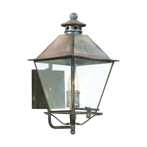 Troy Lighting Outdoor Wall Light with Clear Glass in Natural Aged Brass Finish B9131NAB