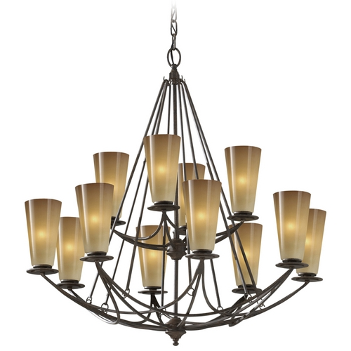 Feiss Lighting Chandelier with White Glass in Mocha Bronze Finish F2605/8+4MBZ