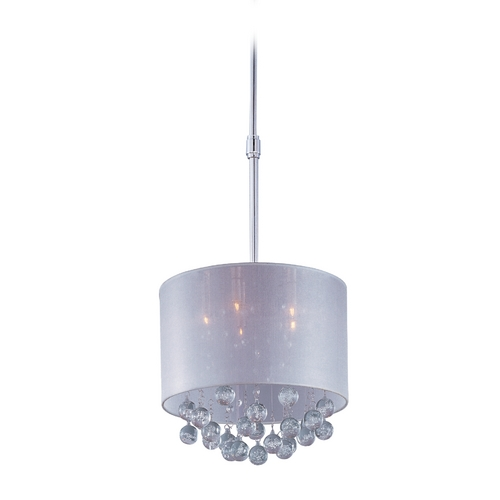 ET2 Lighting Modern Drum Pendant Light with Silver Shade in Polished Chrome Finish E22384-120PC
