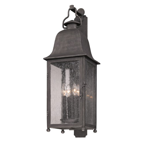 Troy Lighting Outdoor Wall Light with Clear Glass in Aged Pewter Finish B3213