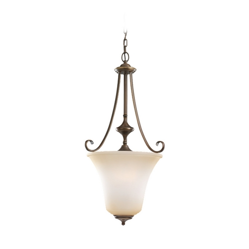 Sea Gull Lighting Pendant Light with Beige / Cream Glass in Russet Bronze Finish 59380BLE-829