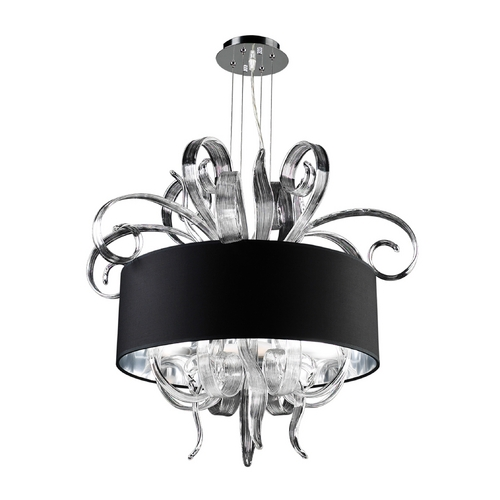PLC Lighting Modern Chandelier with Clear Glass in Polished Chrome Finish 34147 PC