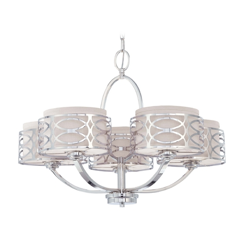 Nuvo Lighting Modern Chandelier with Grey Shades in Polished Nickel Finish 60/4625