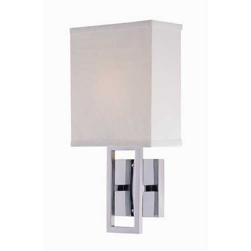 Chrome Singlelight Sconce With Fabric Shade Ls16585Cwht