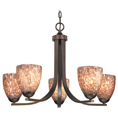 Design Classics Lighting Modern Chandelier with Brown Art Glass in Neuvelle Bronze Finish 584-220 GL1016MB