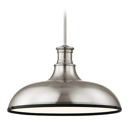 Design Classics Lighting Industrial Metal Pendant Light Satin Nickel and Black 18.38-Inch Wide 1761-09 SH1779-09 R1779-07