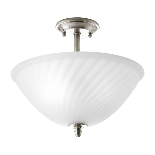 Progress Lighting Semi-Flushmount Light with White Glass in Brushed Nickel Finish P3829-09
