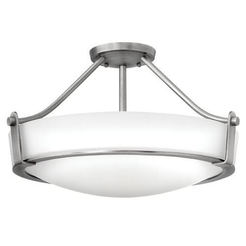 Hinkley Lighting Modern Semi-Flushmount Light with White Glass in Antique Nickel Finish 3221AN