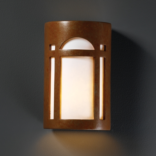 Justice Design Group Outdoor Wall Light with White in Rust Patina Finish CER-7395W-PATR
