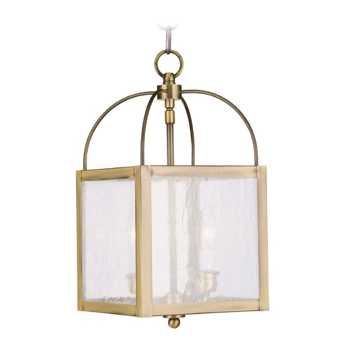 Livex Lighting Livex Lighting Milford Antique Brass Mini-Pendant Light with Square Shade 4045-01