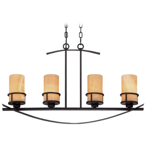 Quoizel Lighting Quoizel Kyle Imperial Bronze Island Light with Cylindrical Shade KY433IB