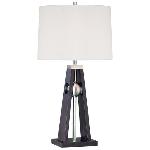 Minka Lavery Minka Dark Brown, Brushed Nickel Table Lamp with Drum Shade 10052-0