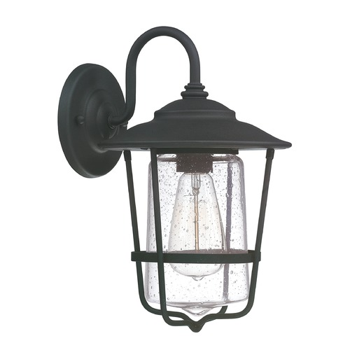 Capital Lighting Seeded Glass Outdoor Wall Light Black Capital Lighting 9601BK