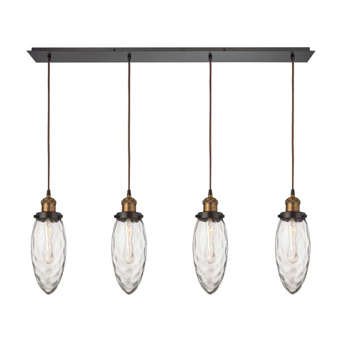 Elk Lighting Elk Lighting Owen Oil Rubbed Bronze, Antique Brass Multi-Light Pendant with Oblong Shade 16310/4LP