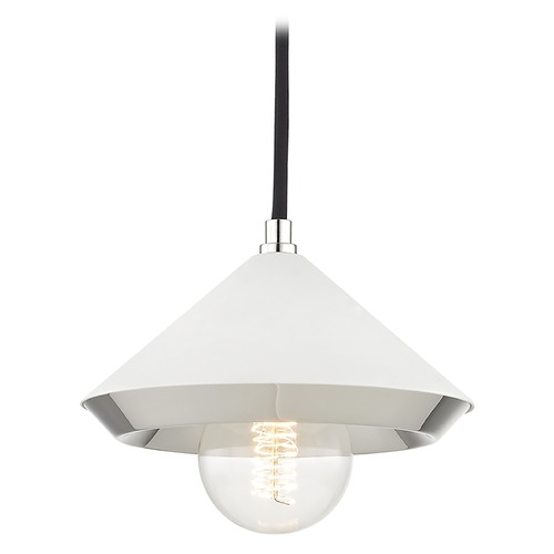 Hudson Valley Lighting Mid-Century Modern Mini-Pendant Light Polished Nickel Mitzi Marnie by Hudson Valley H139701S-PN/WH