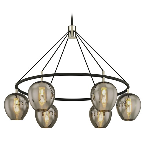 Troy Lighting Troy Lighting Iliad Carbide Black with Polished Nickel Pendant Light with Bowl / Dome Shade F6216