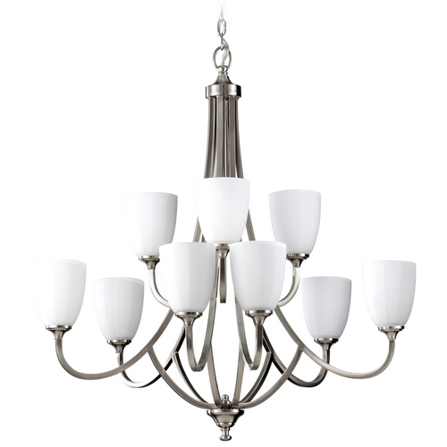 Home Solutions by Feiss Lighting Modern Chandelier with White Glass in Brushed Steel Finish F2585/6+3BS