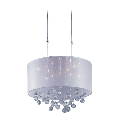 ET2 Lighting Modern Drum Pendant Light with Silver Shade in Polished Chrome Finish E22385-120PC