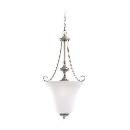 Sea Gull Lighting Pendant Light with White Glass in Antique Brushed Nickel Finish 59380BLE-965