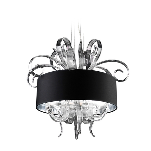 PLC Lighting Modern Pendant with Clear Glass in Polished Chrome Finish 34143 PC