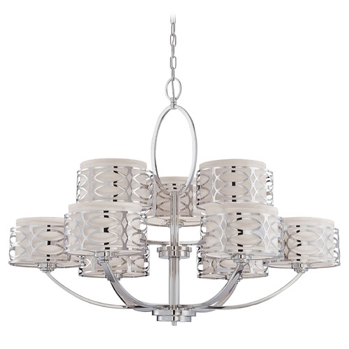 Nuvo Lighting Modern Chandelier with Grey Shades in Polished Nickel Finish 60/4630