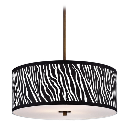 Design Classics Lighting Drum Pendant Light with Zebra Print Shade DCL 6528-604 SH9465
