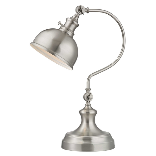 Design Classics Lighting Merchant Adjustable Desk Lamp in Satin Nickel Finish 2290-09