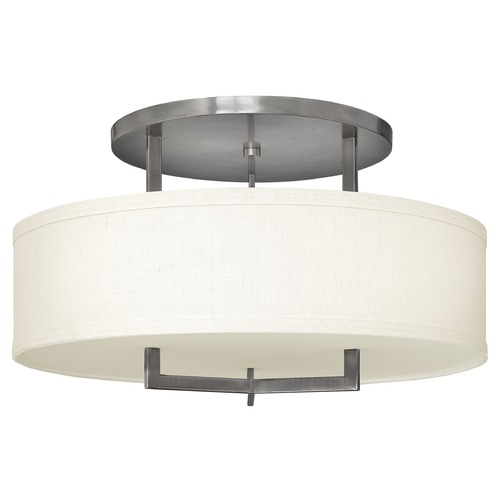 Hinkley Lighting Modern Semi-Flushmount Light with White Shade in Antique Nickel Finih 3211AN