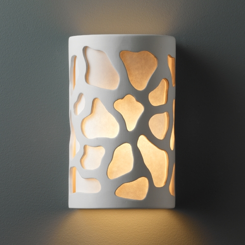 Justice Design Group Outdoor Wall Light with White in Bisque Finish CER-7445W-BIS