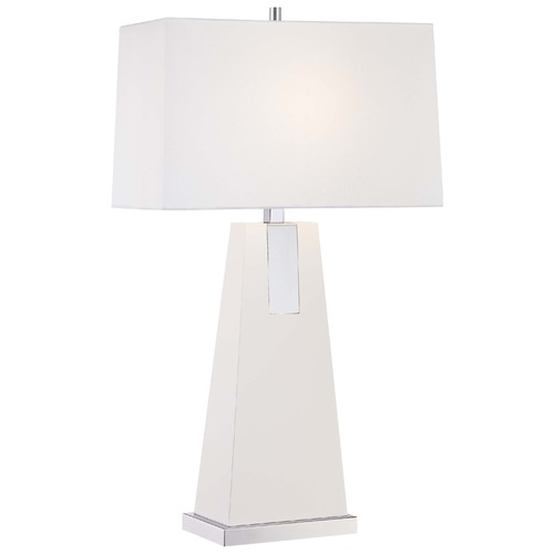 Minka Lavery Minka Chrome, White Table Lamp with Rectangle Shade 10053-0