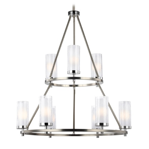 Feiss Lighting Feiss Lighting Jonah Satin Nickel / Chrome Chandelier F2987/9SN/CH