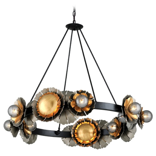 Corbett Lighting Corbett Lighting Magic Garden Black Graphite Bronze Leaf Chandelier 278-016