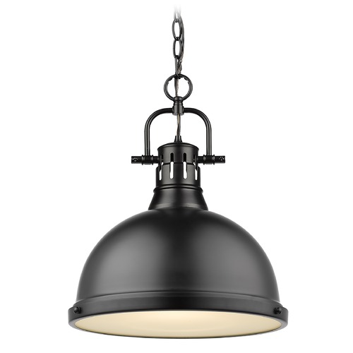 Golden Lighting Golden Lighting Duncan Black Pendant Light with Matte Black Shade 3602-LBLK-BLK