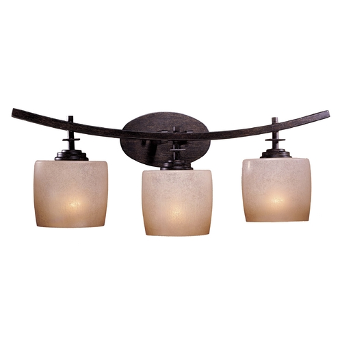 Minka Lavery Modern Bathroom Light with Beige / Cream Glass in Iron Oxide Finish 6183-357