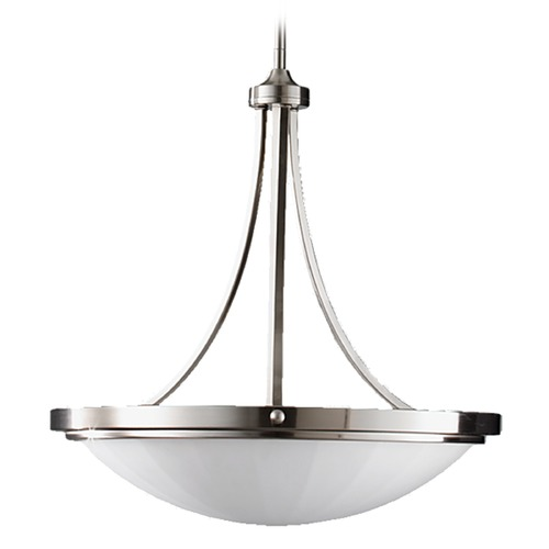 Feiss Lighting Modern Pendant Light with White Glass in Brushed Steel Finish F2583/3BS