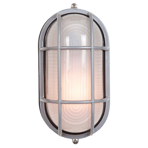 Access Lighting Outdoor Wall Light with White Glass in Satin Nickel Finish 20290-SAT/FST