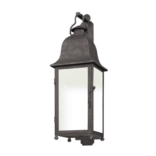 Troy Lighting Outdoor Wall Light with White Glass in Aged Pewter Finish BF3212