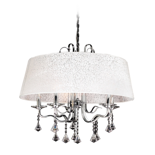 PLC Lighting Modern Crystal Chandelier with Clear Glass in Polished Chrome Finish 34128 PC
