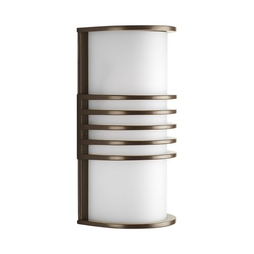 Progress Lighting Progress Modern Outdoor Wall Light with White in Antique Bronze Finish P5914-20