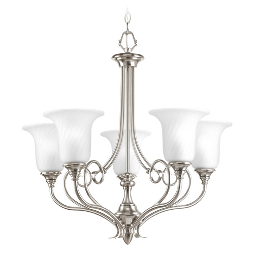 Progress Lighting Chandelier with White Glass in Brushed Nickel Finish P4238-09