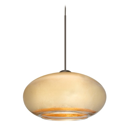 Besa Lighting Besa Lighting Brio Bronze Mini-Pendant Light with Oblong Shade 1XT-2492GF-BR