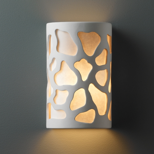 Justice Design Group Outdoor Wall Light with White in Bisque Finish CER-7455W-BIS